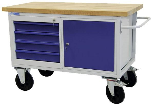 Tischwagen mit 4 Schubladen und Tür METEC